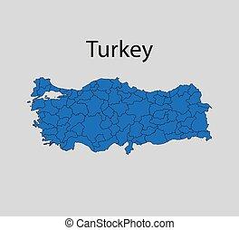 Vector illustration. Turkey states border map