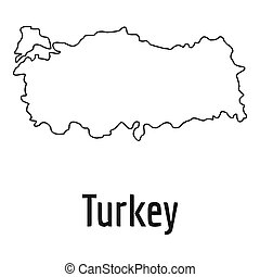 Turkey map thin line simple