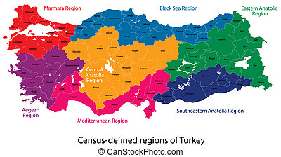 Turkey map designed in illustration with regions colored in...