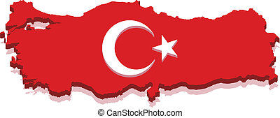 Turkey Map with Turkish Flag 3D, isolated on white...