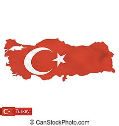 Turkey map with waving flag of Turkey.