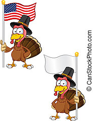 Turkey Mascot - Holding A Flag