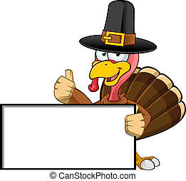 A cartoon Illustration of a Thanksgiving turkey character. Illustration has some clip masking.