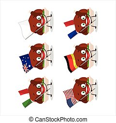 Turkey meat cartoon character bring the flags of various ...