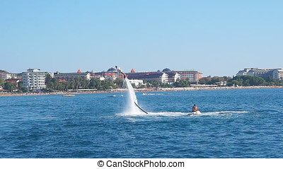 Turkey, October 12, 2017. Shot of flyboard boots in action a...