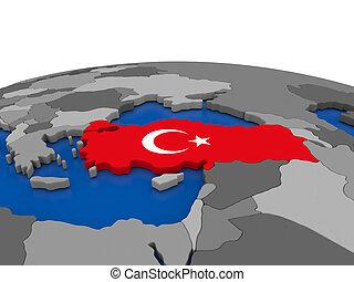Turkey on 3D globe
