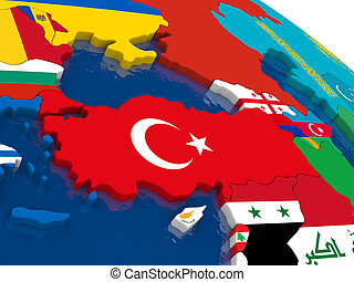 Turkey on 3D map with flags