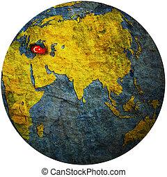 turkey on globe map