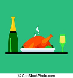 turkey on plate with wine bottle and glasses of wine, traditional christmas and thanksgiving food. Vector.