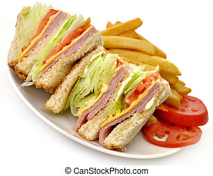 Sandwich - Turkey Or Ham Club Sandwich And French Fries