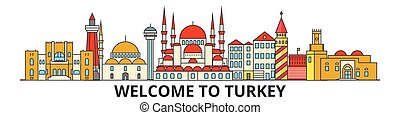Turkey outline skyline, turkish flat thin line icons, landmarks, illustrations. Turkey cityscape, turkish travel city vector banner. Urban silhouette