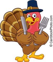 Turkey Pilgrim Hat Thanksgiving Cartoon Character - Pilgrim...