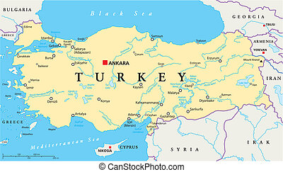 Turkey Political Map with capital Ankara, national borders,...