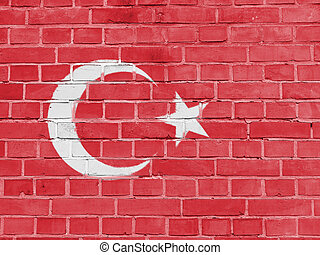 Turkey Politics Concept: Turkish Flag Wall