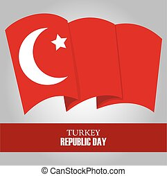 turkey republic day, waving national flag gray background