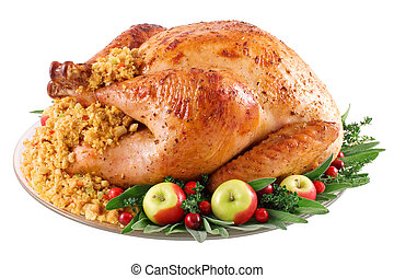 Turkey - Roast turkey with cornbread stuffing on a platter....