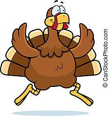 Turkey Running - A happy cartoon turkey running and smiling.