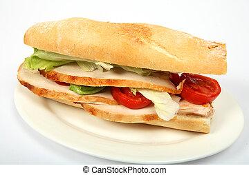 "Turkey salad roll - A baguette \\\""submarine\\\"" bread roll..."