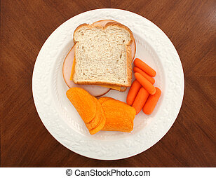 Turkey Sandwich Carrots and Cheese Flavored Chips