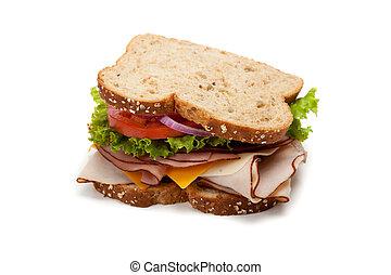 Turkey sandwich on white background - A turkey sandwich on ...
