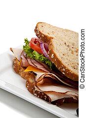 Turkey sandwich on whole grain bread - A turkey sandwich ...