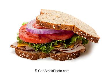 Turkey sandwich on whole grain bread - A turkey sandwich...