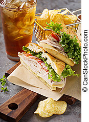 Turkey sandwich with cheese and herb mayonnaise - Turkey...