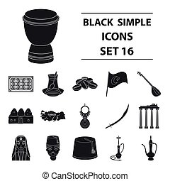 Turkey set icons in black style. Big collection of Turkey...