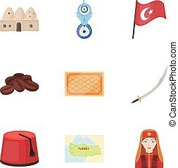 Turkey set icons in cartoon style. Big collection of Turkey...