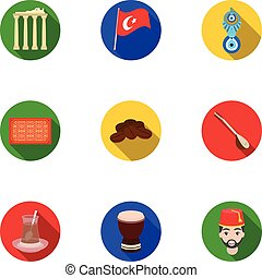 Turkey set icons in flat style. Big collection of Turkey...