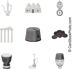 Turkey set icons in monochrome style. Big collection of...