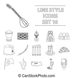 Turkey set icons in outline style. Big collection of Turkey...