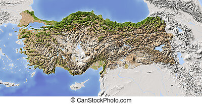 Turkey, shaded relief map - Turkey. Shaded relief map with ...