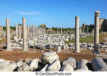 turkey., side., antigüidade, ruínas