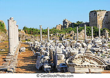 turkey., side., antiquité, ruines