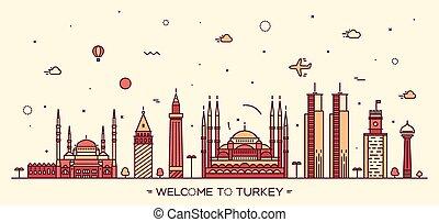 Turkey skyline vector illustration linear style
