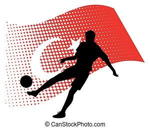 turkey soccer player against national flag
