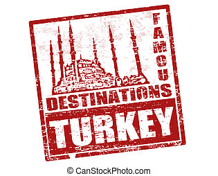 Grunge rubber stamp with blue mosque shape and the word Turkey inside, vector illustration