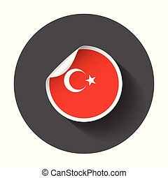 Turkey sticker with flag. Vector illustration with long shadow.