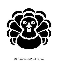 Turkey Thanksgiving Icon on White Background. Vector