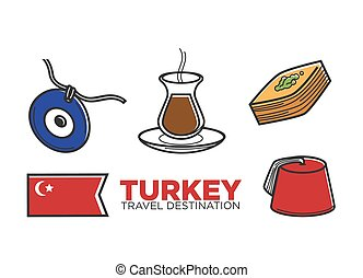 Turkey tourist travel and Turkish culture vector outline...