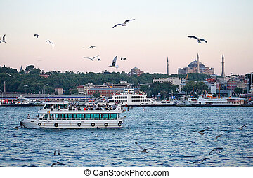 Turkey travel background   - Istanbul sunset panorama -