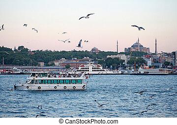 Turkey travel background   - Istanbul sunset panorama -