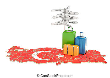 Turkey travel concept. Suitcases with signpost on Turkish map, 3D rendering