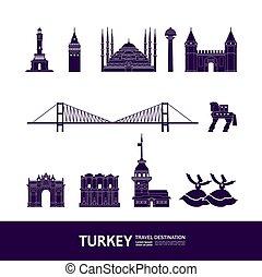 Turkey travel destination grand vector illustration.