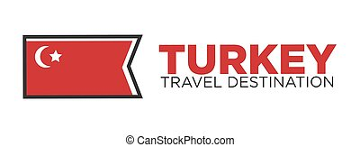 Turkey travel destination words and flag - Vector...