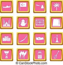 Turkey travel icons pink