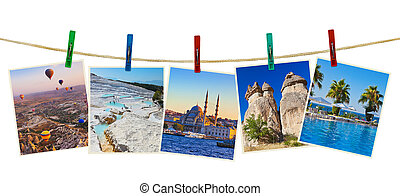 Turkey travel photography on clothespins isolated on white...
