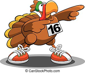 Turkey Trot - A vector illustration of a turkey, ready for...