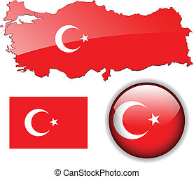 Turkey, Turkish flag, map and glossy button, vector illustration set.